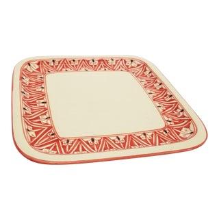 Late 20th Century Le Souk Nejma Design Ceramic Handmade Square Stoneware Platter, Tunisia For Sale