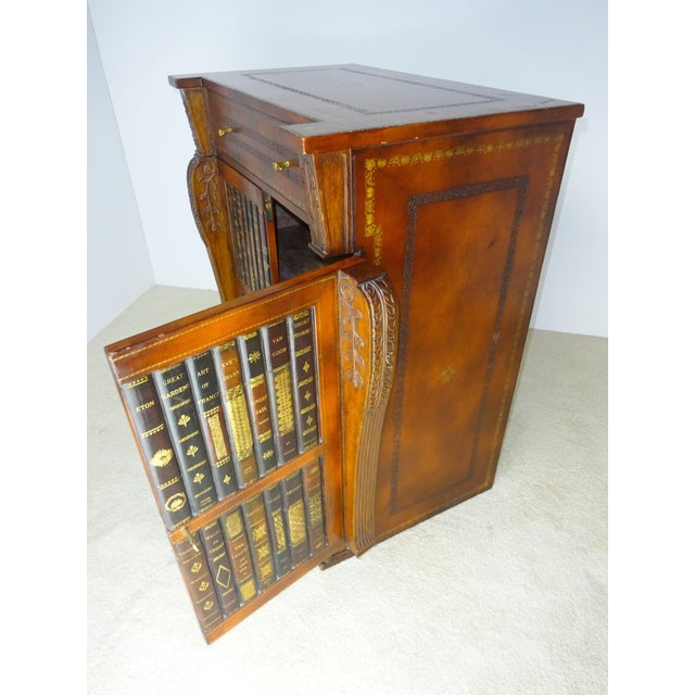 Maitland Smith Leather Faux Book Cabinet For Sale - Image 5 of 11