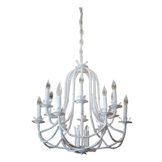White Faux Bamboo Chandelier