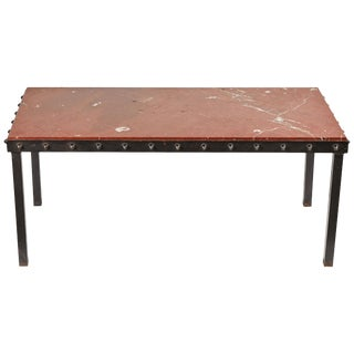 1940s French Marble Top Coffee Table With Iron Legs and Studded Trim For Sale