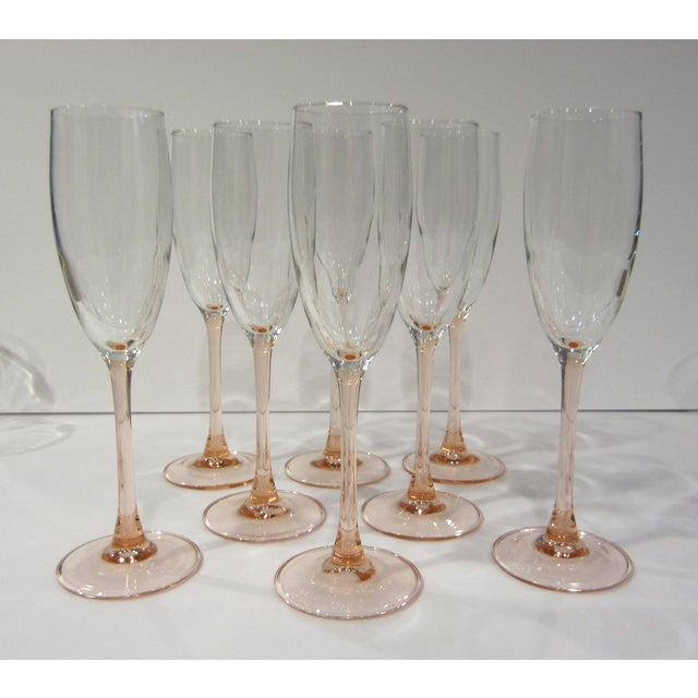 French Pink Champagne Flutes - Set of 8 For Sale - Image 9 of 11