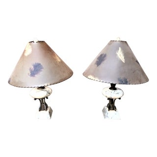 Mid Century Marble Flying Saucer Table Lamps With Original Shades - a Pair For Sale