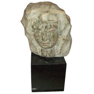 Modernist Marble Sculpture on Granite Base For Sale