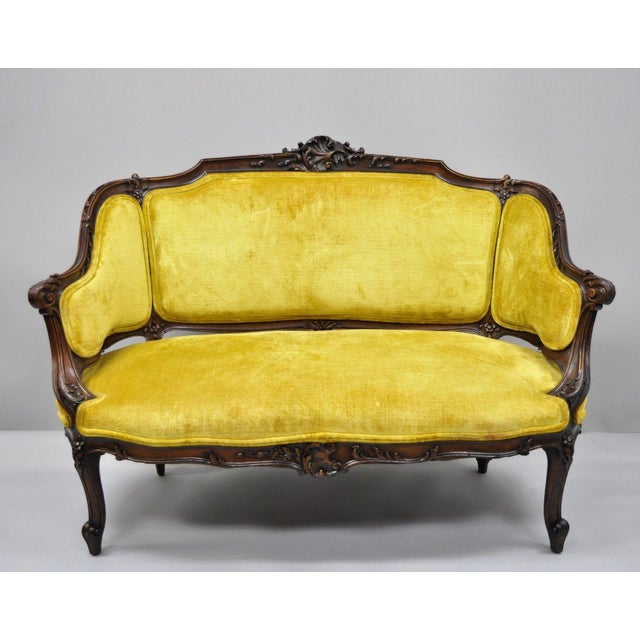Antique French Louis XV Style Finely Carved Mahogany Settee Loveseat For Sale - Image 11 of 11