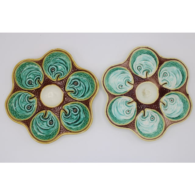 19th Century Antique Wedgewood Majolica Ceramic Oyster Plates For Sale - Image 5 of 12