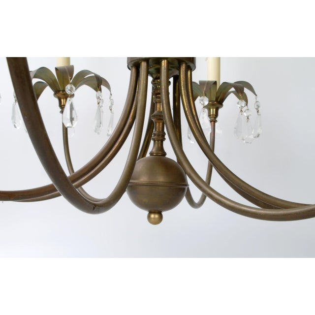 Brass Palm Leaf Chandelier - Image 7 of 10