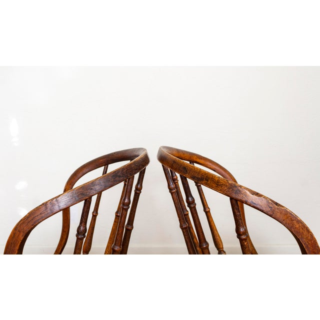 19th Century Vintage Cane Seat Spindle Back Windsor Primitive Bow Back Chairs For Sale - Image 11 of 13