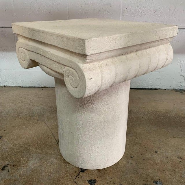 Ionic column table rendered in ceramic, design attributed by Michael Taylor for Kreiss collection, Italy, 1983.