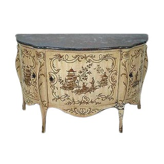 Heritage Grand Tour Marble Top Commode W/ Chinoiserie Paint For Sale