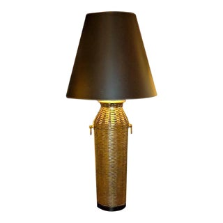 1976 Modern Chapman Lamp Tall Woven Brass Vase Shaped Table Lamp For Sale