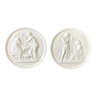 Bing & Grondahl Bisque Porcelain Relief Wall Plaques- a Pair For Sale