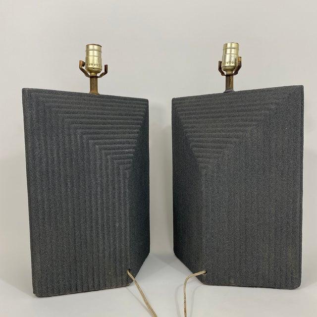 Ceramic 1980s Grey Postmodern Stepped Ceramic Lamp Pair For Sale - Image 7 of 13