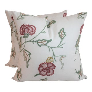 Crewel Work Pillows - A Pair For Sale