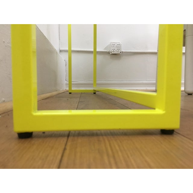 Contemporary Fluorescent Yellow Powder-Coated Metal Console Table For Sale In New York - Image 6 of 8