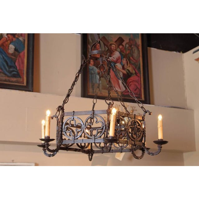 19th Century French Gothic Hexagonal Black Wrought Iron Six-Light Chandelier For Sale - Image 4 of 10