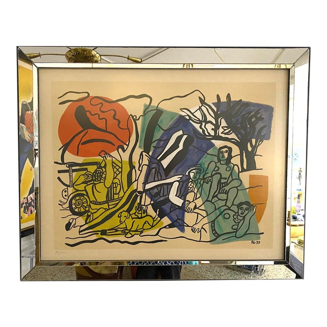 """Mid-Century Modern Leger Style Lithograph """"Partie De Campagne"""" (Country Party) For Sale"""