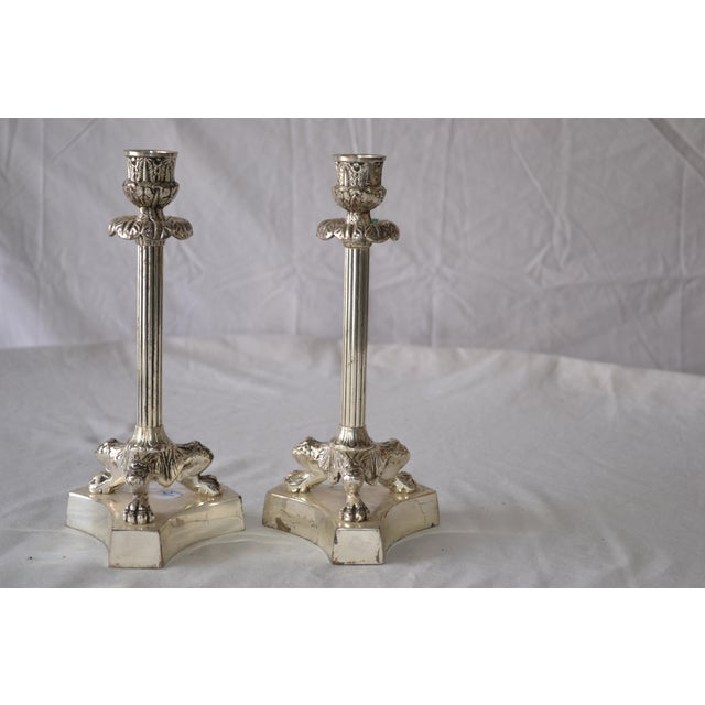 American 1980s American Classical Silver Fluted Candlesticks With Claw Feet - a Pair For Sale - Image 3 of 6
