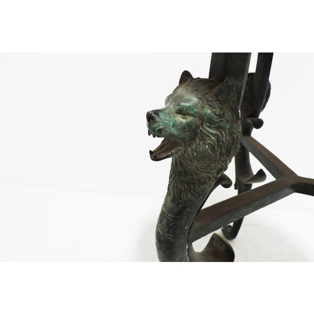 Luciano Tempo Short Bronze Table With Wolf Face Legs For Sale - Image 4 of 5