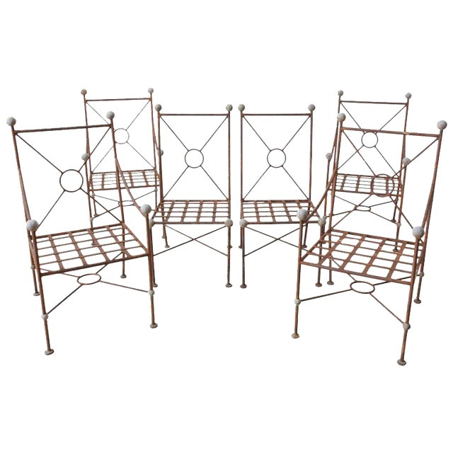 Set of Six Mario Papperzini for Salterini Style Garden Chairs For Sale