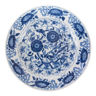 "Large 16.75"" Antique 19th C. Dutch Delft Bird Charger For Sale"