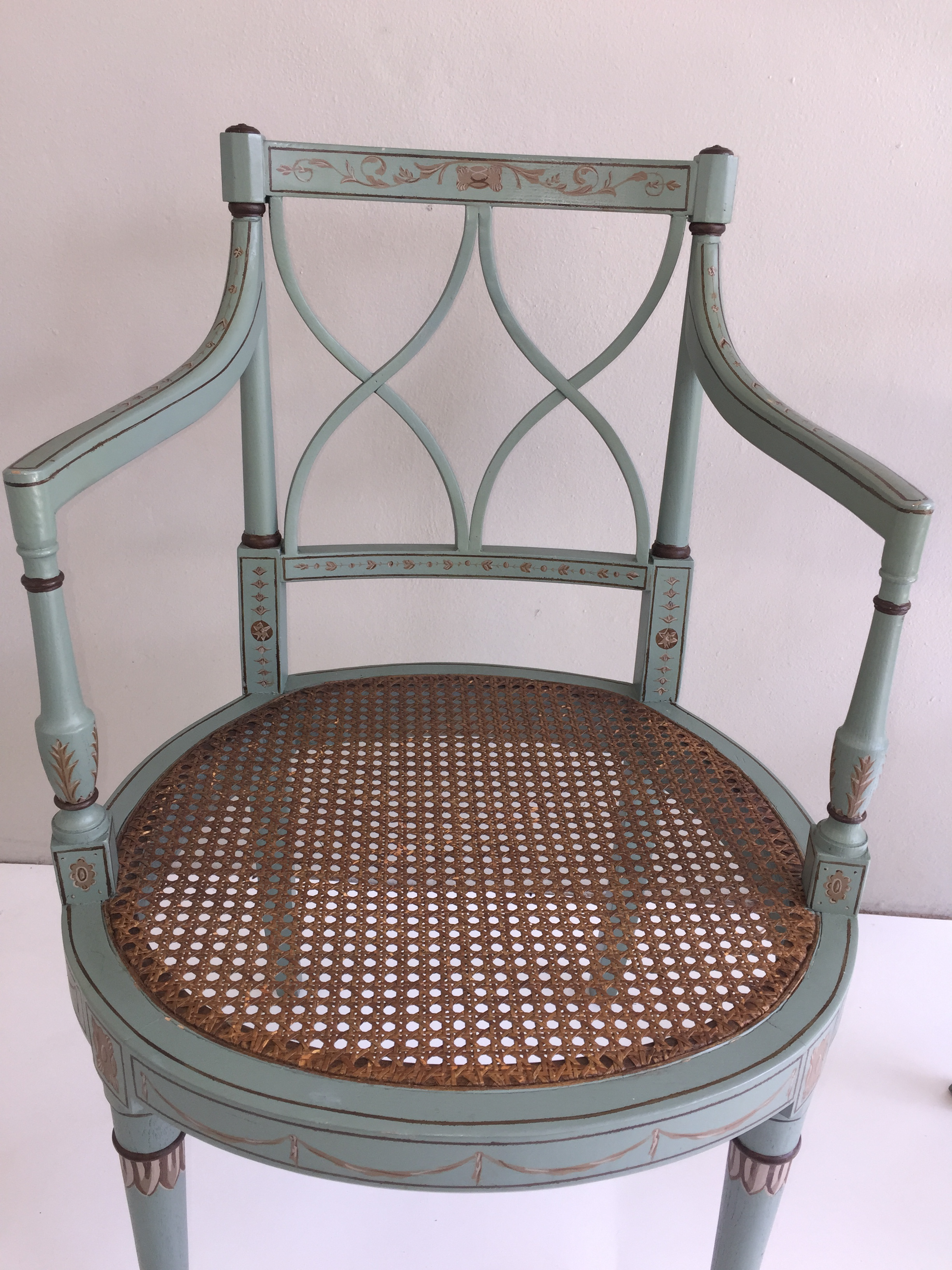 Painted French Style Caned Chairs   Pair   Image 4 Of 8