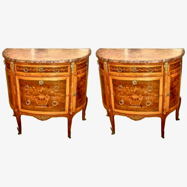 Louis XVI Pair of Louis XVI Style Marble Top Marquetry Inlaid Commodes For Sale - Image 3 of 3