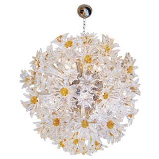 Venini Amber and Clear Esprit Chandelier For Sale