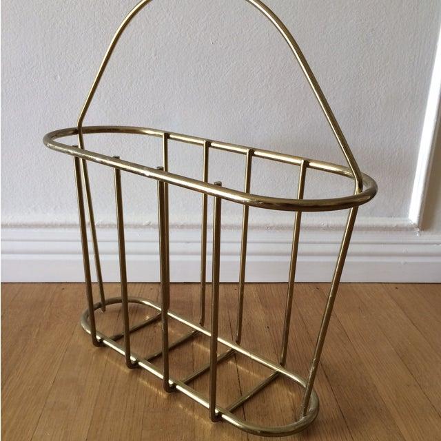 Mid-Century Modern Brass Magazine Rack - Image 4 of 4