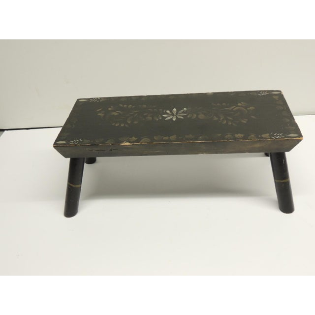 Painted Primitive Black Painted Stool - Image 2 of 5