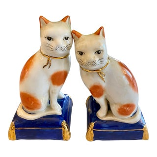 Vintage Hand-Painted Ginger Tabby Cat Figurines - a Pair For Sale