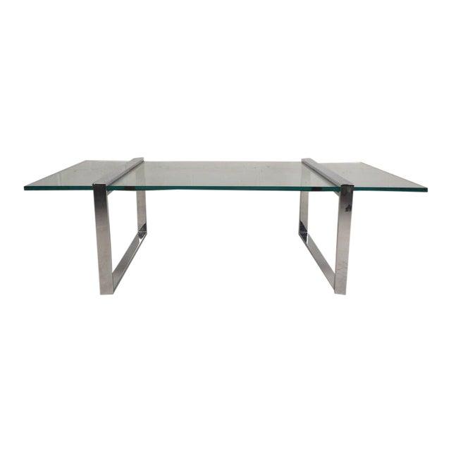 Milo Baughman Style Mid-Century Modern Chrome Coffee Table - Image 1 of 7