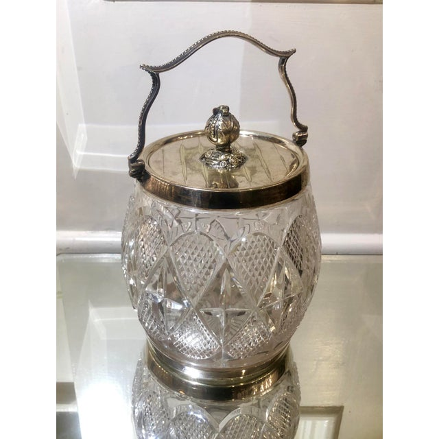 Gorgeous Antique Cut Crystal & Silver Plate English Biscuit Jar For Sale In Los Angeles - Image 6 of 6
