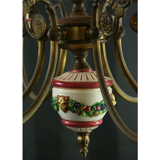 Vintage Italian Raised Capodimonte Chandelier - Image 4 of 8