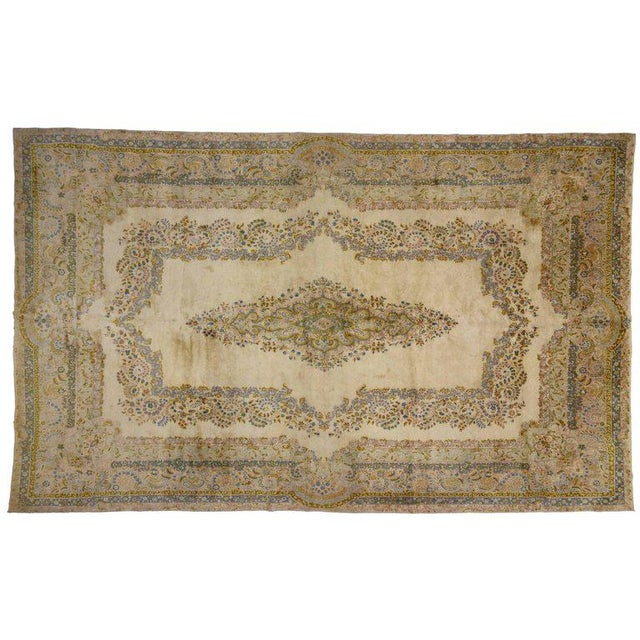 Antique Persian Kerman Rug with Traditional Style in Light Colors For Sale - Image 9 of 10