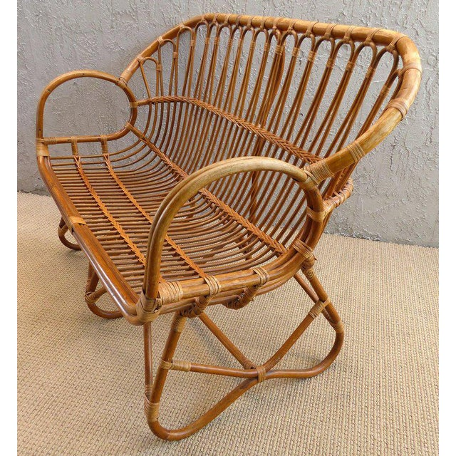 Blue 1970s Italian Bent Rattan Loveseat For Sale - Image 8 of 11