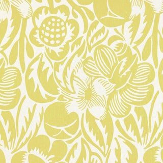 Scalamandre Deco Flower Fabric in Chartreuse Sample For Sale