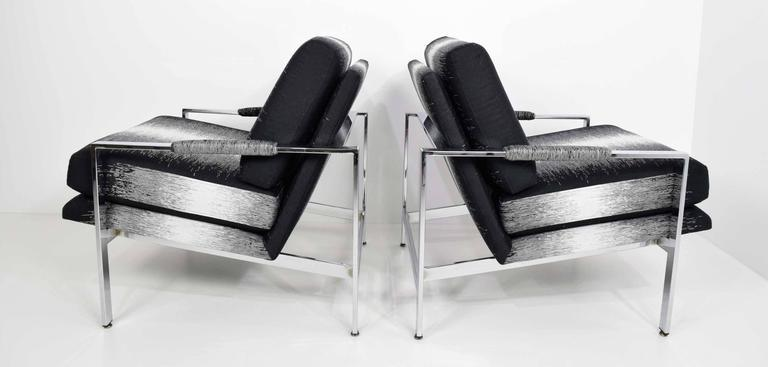 Chrome Milo Baughman Lounge Chairs In New Upholstery By Romo   A Pair For  Sale
