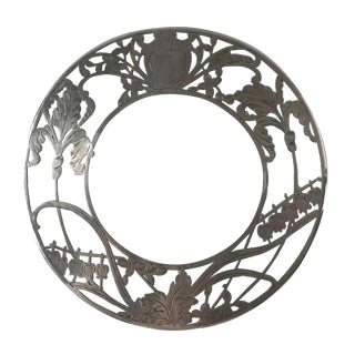 Antique Art Nouveau Round Glass and Sterling Silver Overlay Trivet With Irises and Lilies of the Valley For Sale