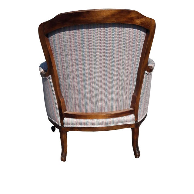 1950s French Provincial Walnut Bergere Chair For Sale - Image 4 of 8