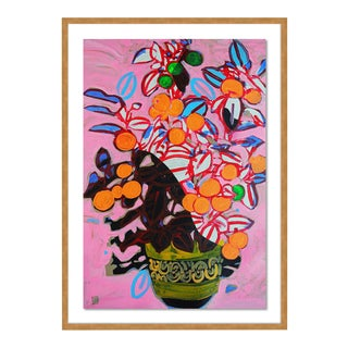 Orange Tree by Jelly Chen in Gold Framed Paper, Large Art Print For Sale