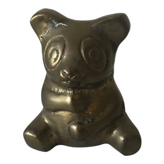 Vintage Brass Panda Figurine For Sale