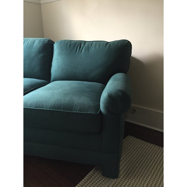 Rolled Arm Forest Green Linen Loveseat - Image 6 of 7