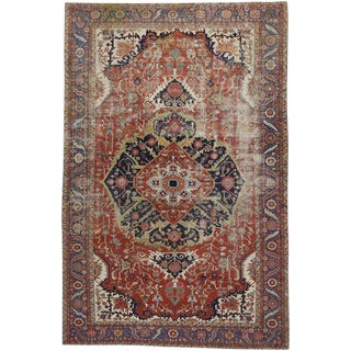 Early 20th Century Antique Persian Serapi Rug - 13′ × 19′10″ For Sale
