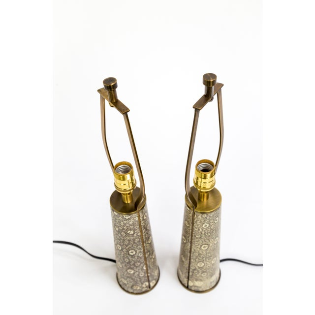 Boho Chic Lizard Skin & Bronze Borrego Lamps by Tuell + Reynolds - a Pair For Sale - Image 3 of 12