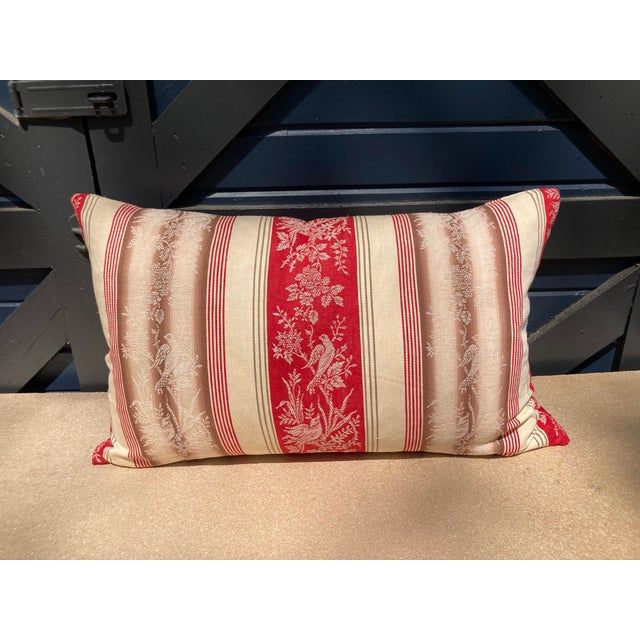 19th C. French Fabric Red Ticking Stripe Pillow For Sale In Philadelphia - Image 6 of 6