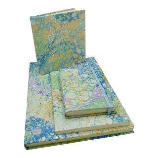 Marbled Paper Notebook Set- 4 Pieces For Sale