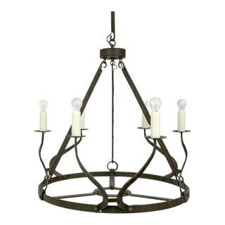 Rustic Iron Wavy Armed Chandelier For Sale