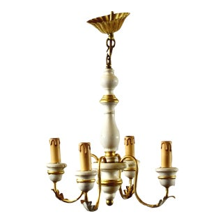 1950s Italian Gold and White Painted Wood Chandelier For Sale