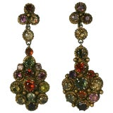 Image of Antique Indian Gemstone Earrings For Sale