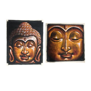 Golden Buddha Paintings on Canvas - A Pair
